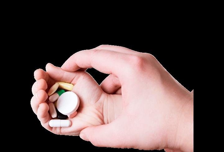 child holding medicines